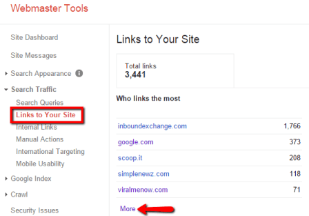 قسمت Link To Your Site گوگل وبمسترتولز