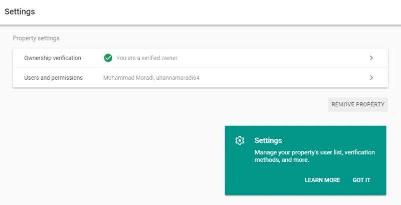آموزش بخش settings سرچ کنسول گوگل