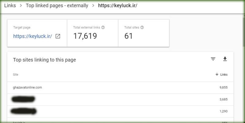 بخش Top linking sites گوگل سرچ کنسول