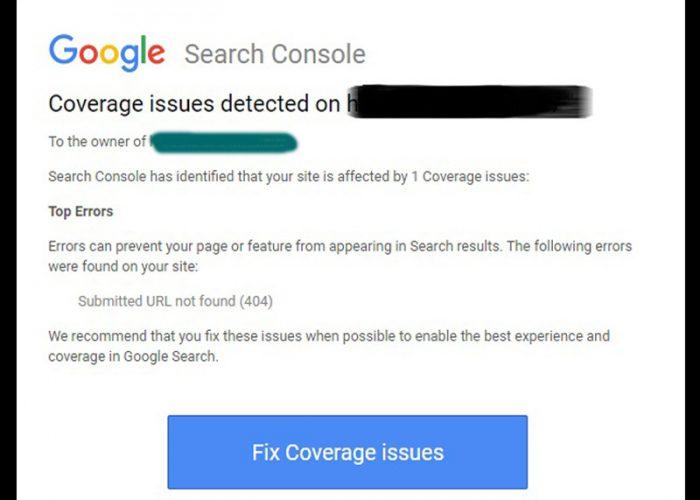 پیغام New Coverage issue detected گوگل