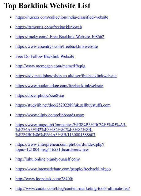 لیست بک لینک سایت های خارجی